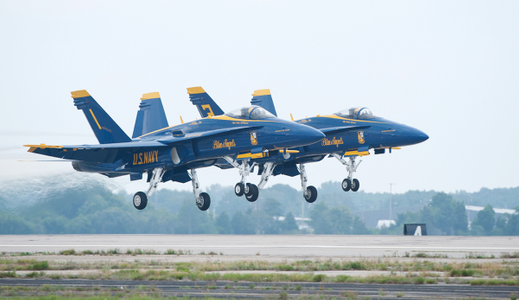 Blue Angels taking off at airshow