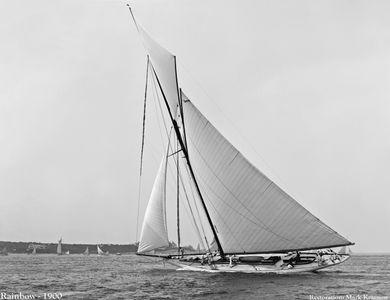 VintaRainbow - 1900 - Sailboat art print restoration for Interior Design