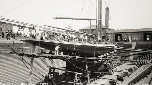 Valkyrie III in Drydock 1895 - Vintage Sailboat art print restoration for Interior Design
