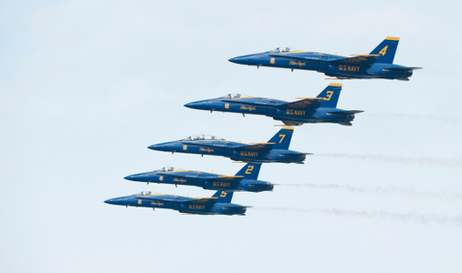 The Blue Angels F-18 Superhornets in formation