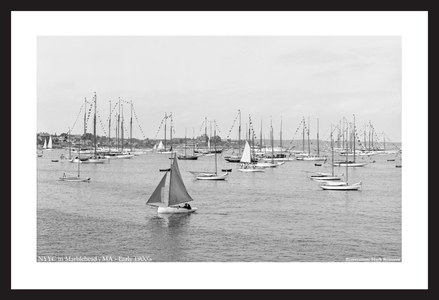 NYYC in Marblehead - Early 1900's - Vintage sailing photography art print restoration