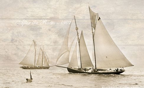 After the Races 1907 - Vintage Sailing Art Print Restoration with Effects