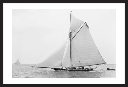 Liris - 1891 - Vintage black & white sailing photography art print restoration