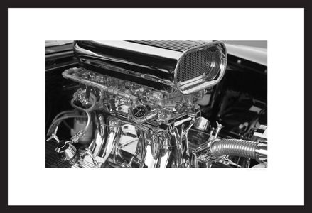 Hot Rod Motor black & white photogaphy art print