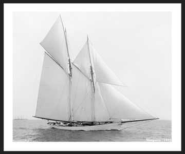Vintage Sailboat Photo Restoration Art Prints - Margarite - 1892