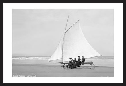 Beach Sailing - c1900 black and white vintage sailing art print restoration