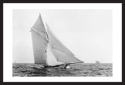 Historic sailing art prints restored - Sloop Kathleen - 1891