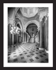 Annapolis Entry Hall Late 1890's - vintage black & white photography art print restorations