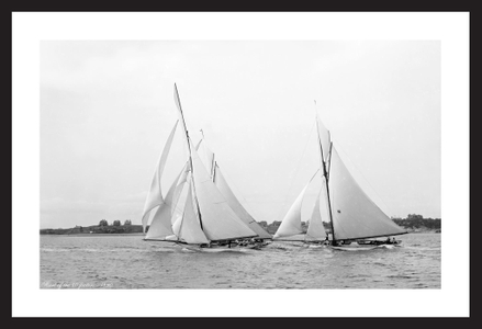 Start of the 40 footers - 1890  - black and white antique sailing photography art print restoration