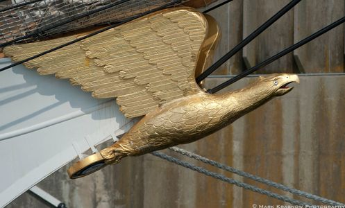 The Carved Eagle on the Bow of the USCG Training Vessel  Barque Eagle