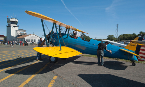 Stearman Biplane at airshow in Beverly, MA