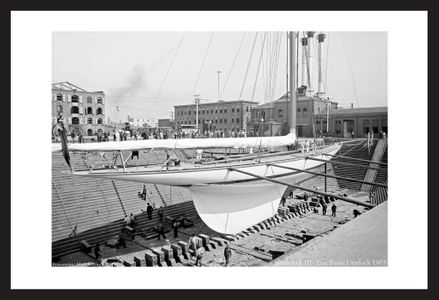 Shamrock III at Erie basin Drydock -1903 - historic sailing phtography art print restoration