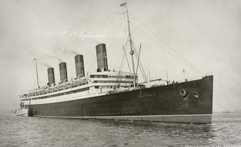 S.S. Aquitania White Star Lines 1917 - Vintage Nautical art print restoration for Interior Design