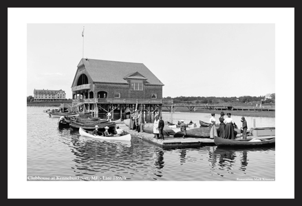 Boat Clubhouse at Kennebunkport, ME, - Late 1890's - vintage black & white art print restoration