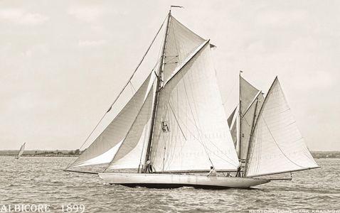 Vintage Restored Sailing Art Print - Albicore 1899