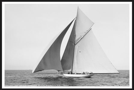 Vigilant 1893 - Winner of the America's Cup - Vintage Sailboat art print restoration for Interior Design