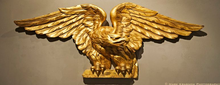 Carved Wooden Eagle on Display at Mystic Seaport  in Mystic, CT