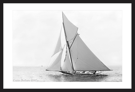 Cutter Barbara - 1890's  - Vintage sailing photography art print restoration