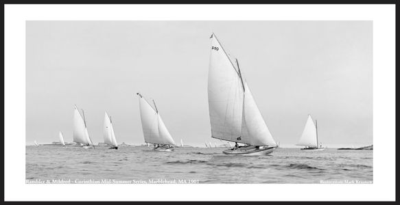Vintage Sailboats - Rambler and Mildred, Corinthian mid-summer series, Marblehead1901