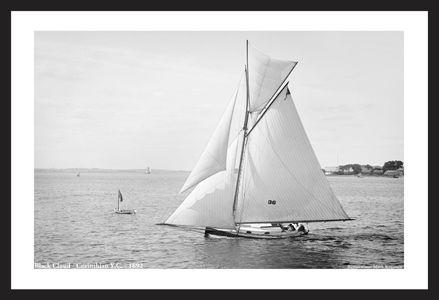 Vintage Sailboats - Black Cloud - Corinthian YC - 1892 - Art Prints  for Home & Office Interiors