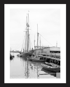 The Victor at Gloucester Wharf - Early 1900's - Vintage photography sailing art print restoration