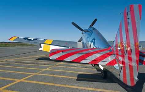 P-51 Mustang on tarmac at airshow