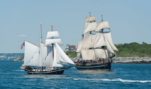 Schooners STV Unicorn and HMS Bounty Leaving Newport