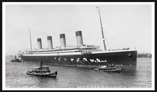 White Star S.S. Olympic Guided in by Tugboats -1911