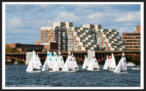 Boston University College Sailing on the Charles River in Boston