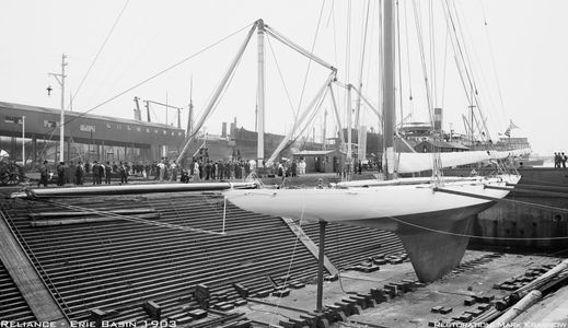 America's Cup Reliance in Drydock 1903 - Vintage Sailboat art print restoration for Interior Design