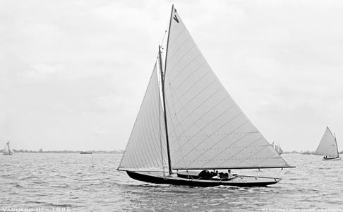 Vaquero III - 1896 - Vintage Sailboat art print restoration for Interior Design