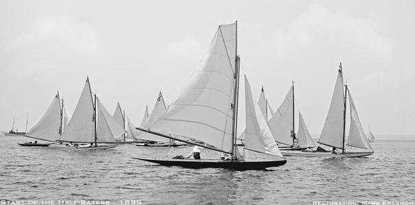 Start of the Half Raters -1896 - Vintage Sailing Art Print Restoration