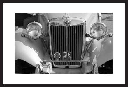 MG vintage automobile grill black & white photography art print