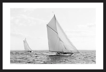 Carmita beats Wasp - 1897  - Historic sailing photography art print restoration