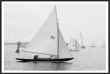 Vintage Sailboats - Wave - 1894 -  Photo Restoration Art Prints