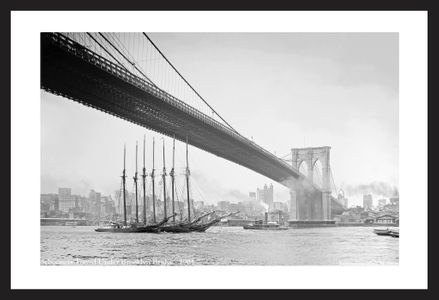 Schooners towed under Brooklyn Bridge - 1903  Historic vintage sailing photography art print restoration