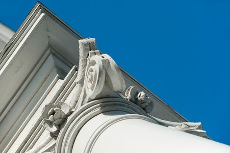 Architectural Detail on Historic Church Column