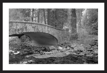 Stone bridge vintage black & white art print restoration