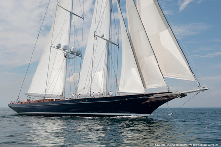 Royal Huisman Schooner Meteor at the Candy Store Cup in Newport, Rhode Island