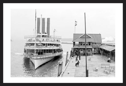 Ferry Landing in Kingston, New York - Early 1900's - Historic black & white photography art print restoration