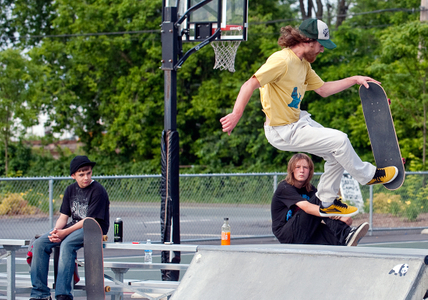 Skateboarder doing trick at Beverly skatepark