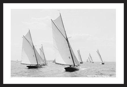 Vintage Sailboats - Start of the South Carolina Regatta - 1897 - Photo Restoration Art Prints