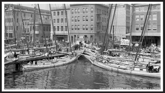 Oyster Luggers Retouched Vintage Art Print - Baltimore MD 1906