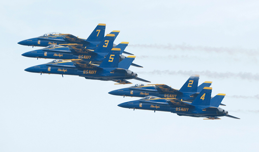 F-18 Superhornets Blue Angels in formation at airshow