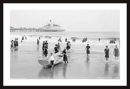 Atlantic City, NJ, c1900 - vintage black & white photo art print restorations