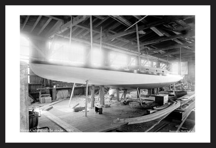 Sloop Cadillac on the Stocks - 1902 - historic sailing art print restoration