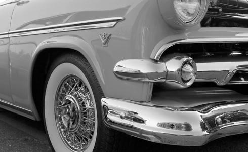 Olds V8 classic car black & white photography art print