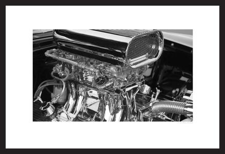 Hot Rod Motor black & white photogaphy art print