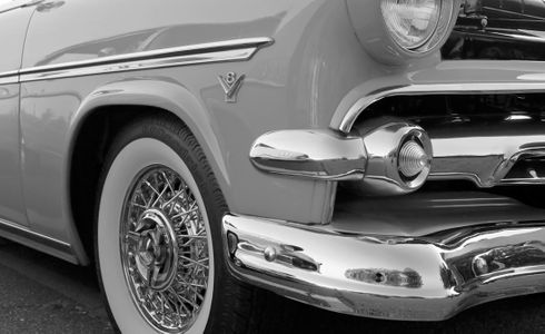 Olds V8 classic car black & white photography art print