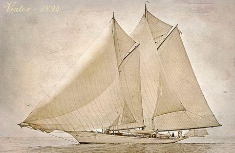 Viator 1894 Sep-a - Vintage Sailboat art print restoration for Interior Design